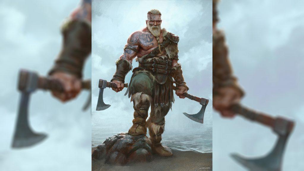 викинг берсеркер с двумя топорами