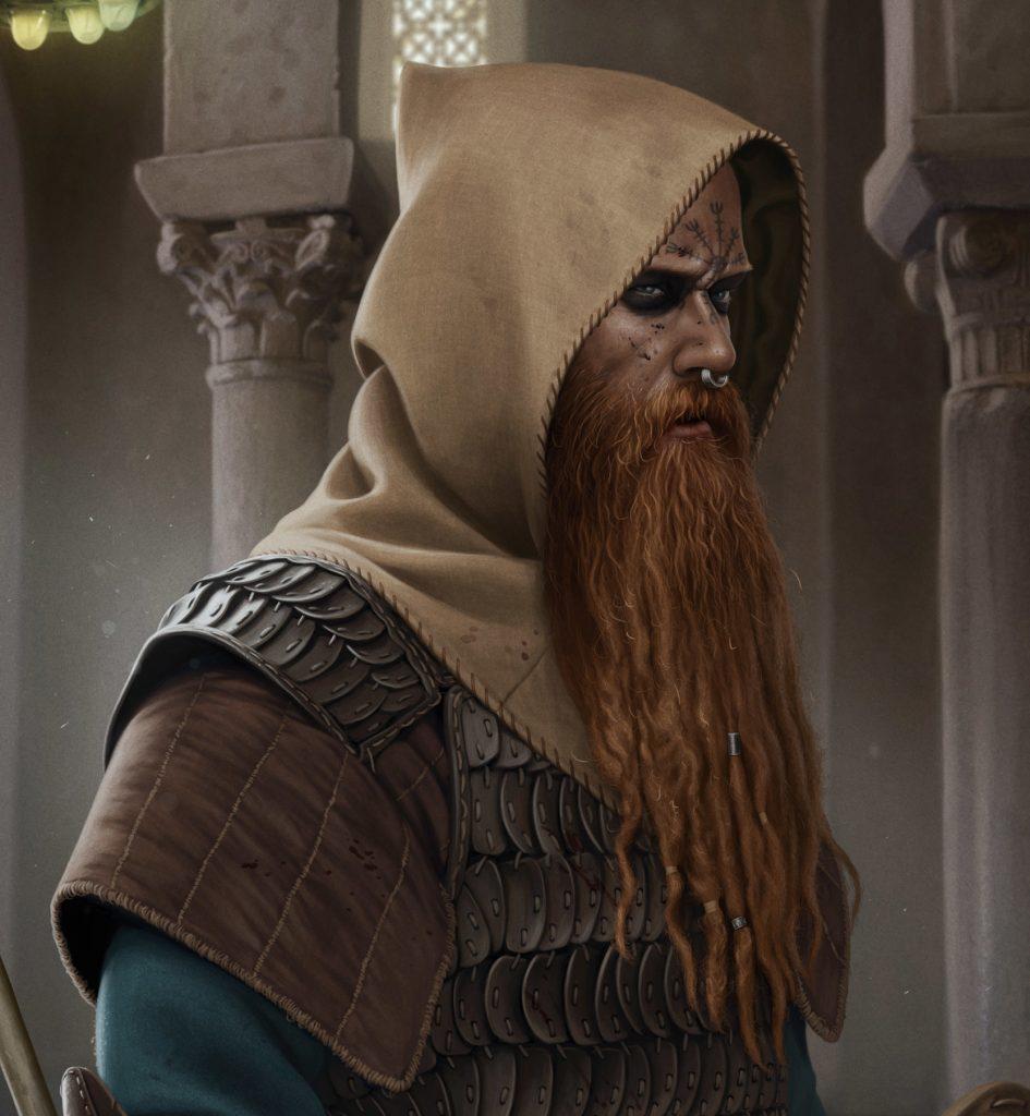 Агисхьяльм - Шлем Ужаса на лбу воина викинга в работе художника Joan Francesc Oliveras - Ulf