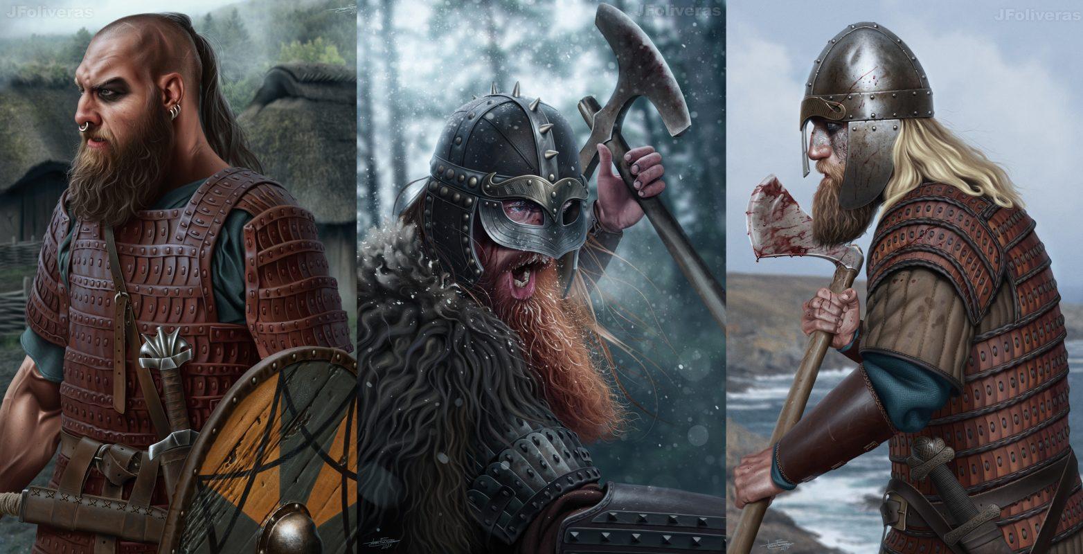joan francesc oliveras викинги ярлы конунги скандинавия север борода топор длинные волосы рисунок эскиз арт