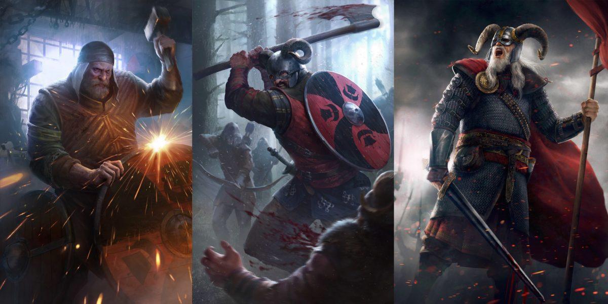 гвинт карты скеллиге викинги кузнец воины топор оружие щит копья бой война ан крайты знамя кольчуга броня ведьмак 3 острова
