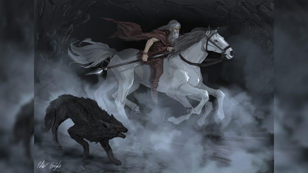Один скачет в Хельхейм на Слейпнире и с волком