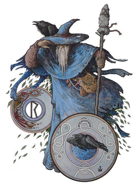 Один в образе странника в темно синем плаще и шляпе