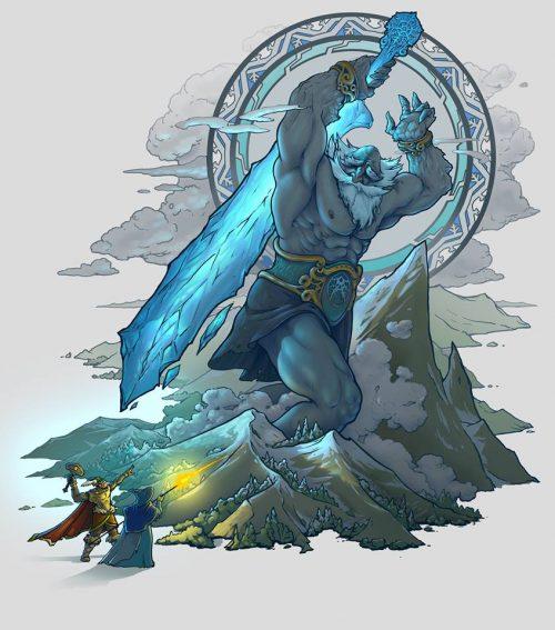 Инеистый ледяной гигант имир сражается с верховным богом Одином и его сыном Тором.