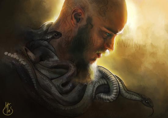 Рагнар Лодброк со змеями арт смерть Рагнара из сериала викинги