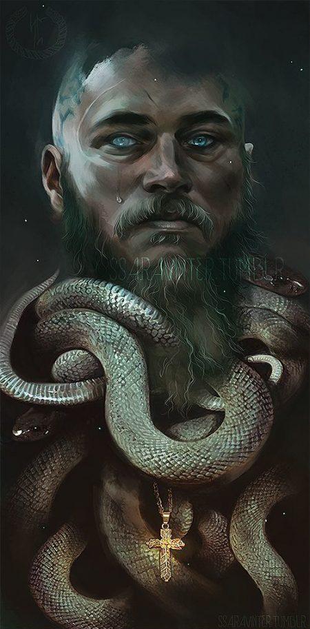 Викинг Рагнар Лодброк из сериала викинги с христианским крестом среди змей, смерть рагнара рисунок