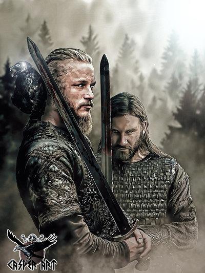 CasperArt Рагнар Лодброк из сериала Викинги с братом Ролло артворк на фоне леса