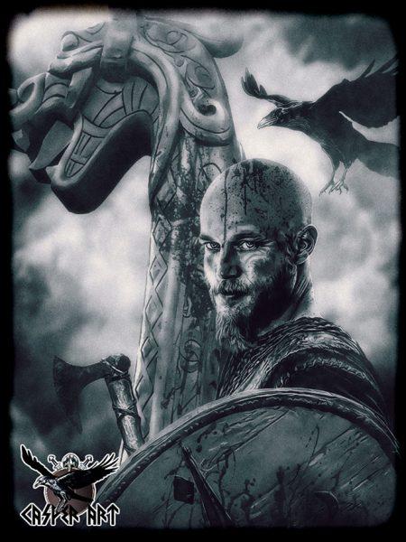 CasperArt Рагнар Лодброк из сериала Викинги черно белый рисунок с вороном и драккаром
