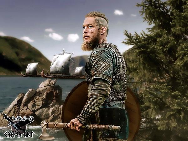CasperArt Рагнар Лодброк из сериала Викинги артворк с топором и бородой на фоне драккаров на берегу моря
