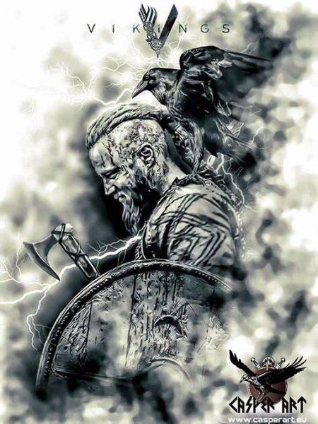 CasperArt Рагнар Лодброк из сериала Викинги с бородой и прической, ворон на плече, черно-белый рисунок