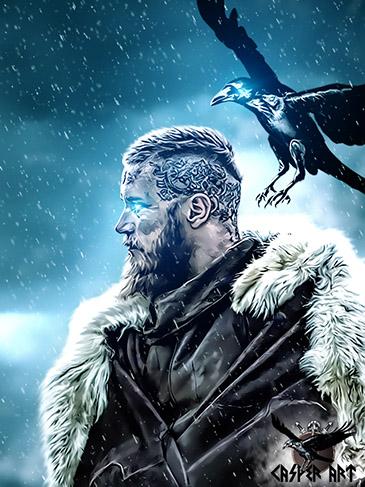 CasperArt Рагнар Лодброк из сериала Викинги татуировка на голове рисунок в меховой шкуре с вороном зимой в снегу эскиз