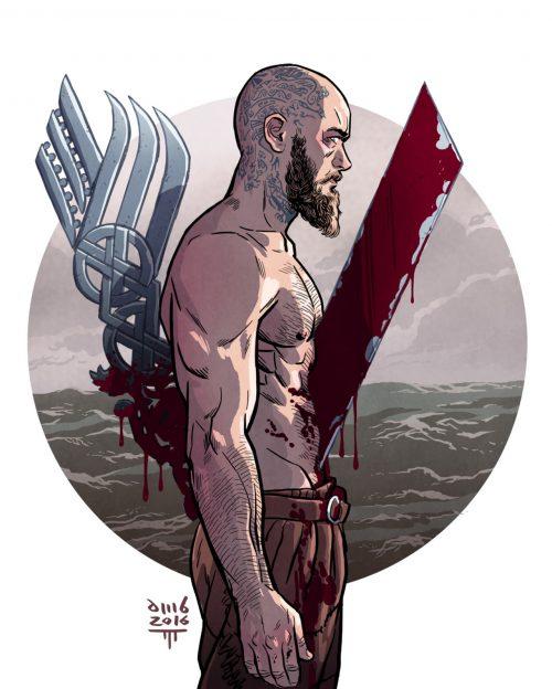 Рагнар Лодброк из сериала Викинги цветной эскиз-рисунок логотип Викинги бритая голова и татуировка Рагнара