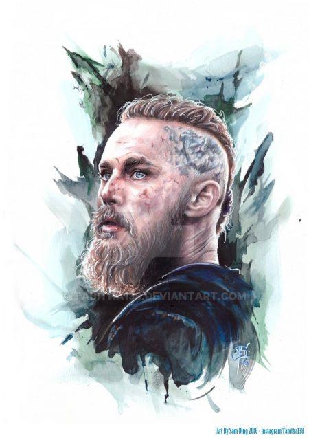 Эскиз Рагнара Лодброка из сериала Викинги цветной рисунок для татуировки с бородой и татуировкой на голове