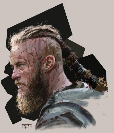 Рагнар Лодброк артворк из сериала викинги прическа с косой и борода Рагнара цветной эскиз