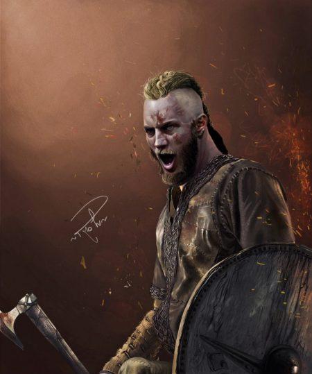 Рагнар Лодброк из сериала викинги арт с топором и щитом
