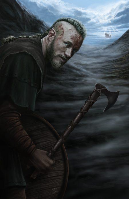 Рагнар Лодброк викинг с топором на фоне фьорда и драккара из сериала викинги