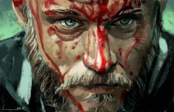 Рагнар Лодброк из сериала викинги рисунок и портрет в крови