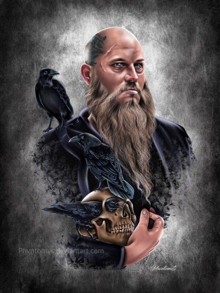 Викинг Рагнар Лодброк из сериала викинги с длинной бородой черепом и воронами, на голове видна татуировка