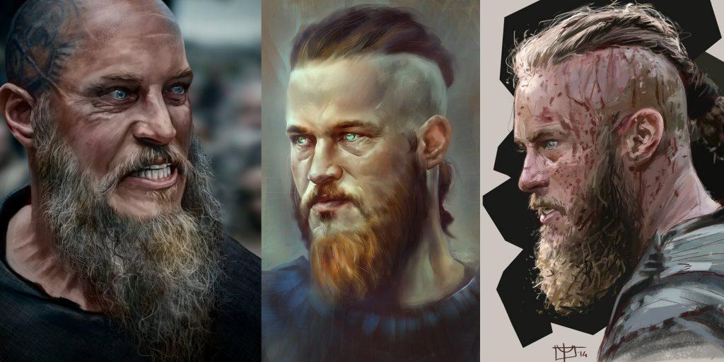 рагнар лодброк викинги рисунок арт портрет эскиз борода прическа конунг ярл
