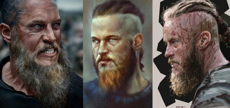 Рагнар Лодброк из сериала Викинги Артворки, рисунки и эскизы для татуировок цветные и черно-белые