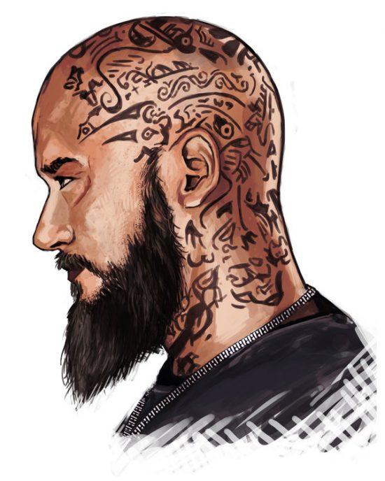 Рагнар Лодброк из сериала Викинги рисунок цветной и эскиз татуировки на голове с воронами Одина