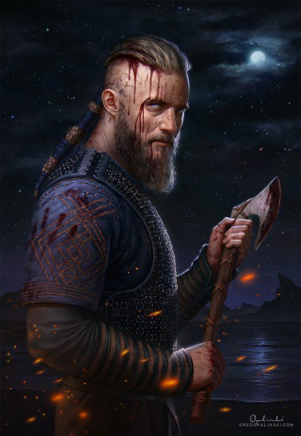 Рагнар Лодброк из сериала викинги рисунок с топором в крови