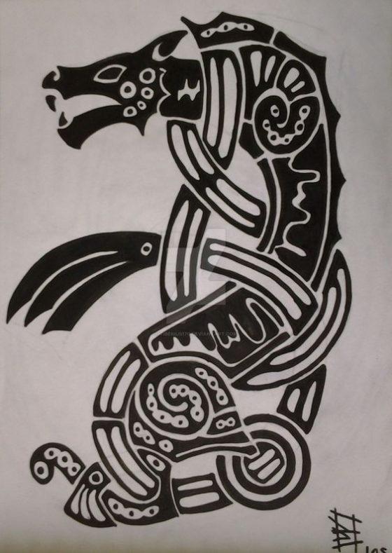 Черно - белый волк Ролло, Татуировки Ролло Лодброка из сериала Викинги, Скандинавские татуировки викингов и их рисунки эскизы и артворки, волки Ролло на плечах Месяц и солнце