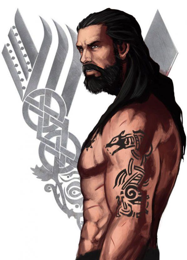 Рисунок и Эскиз, Татуировки Ролло Лодброка из сериала Викинги, Скандинавские татуировки викингов и их рисунки эскизы и артворки, волки Ролло на плечах Месяц и солнце