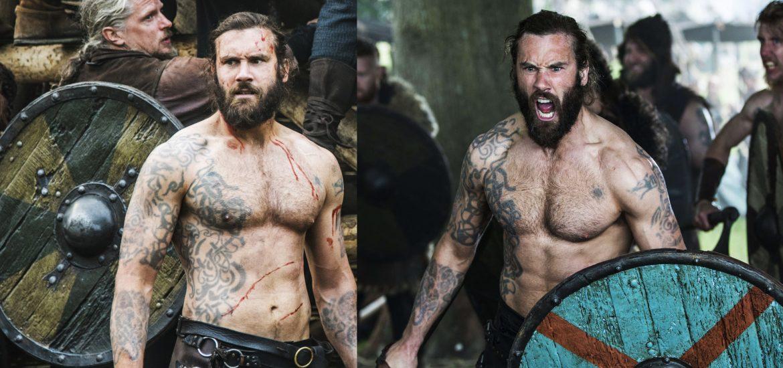 Татуировки Ролло Лодброка из сериала Викинги, Скандинавские татуировки викингов и их рисунки эскизы и артворки, волки Ролло на плечах Месяц и солнце из двух цветных изображений