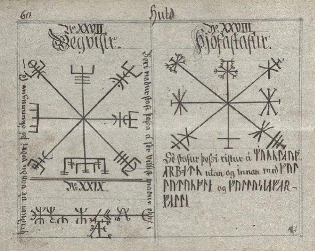 Страница Хульдского манускрипта с Вегвизиром. Вегвизир - рунический компас указатель пути, древнеисландские древнескандинавские символы, значение и смысл скандинавские татуировки, руны викингов, описание