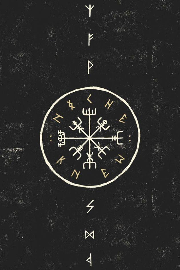 Вегвизир - рунический компас указатель пути, древнеисландские древнескандинавские символы, значение и смысл скандинавские и северные татуировки, руны викингов, узоры
