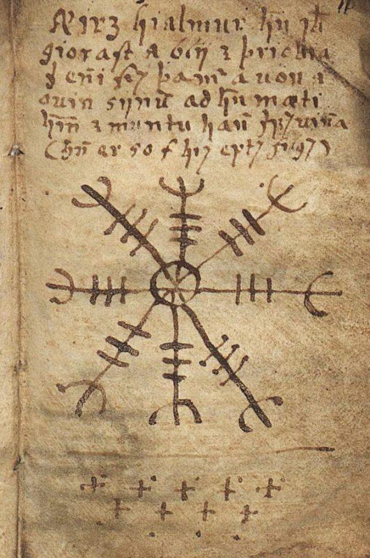Изображение и описание Агисхьяльма - Шлема Ужаса на странице колдовской книги Galdrabók