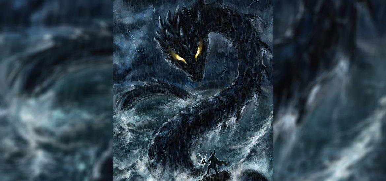 морской змей мидгарда против Тора лодка чудовище