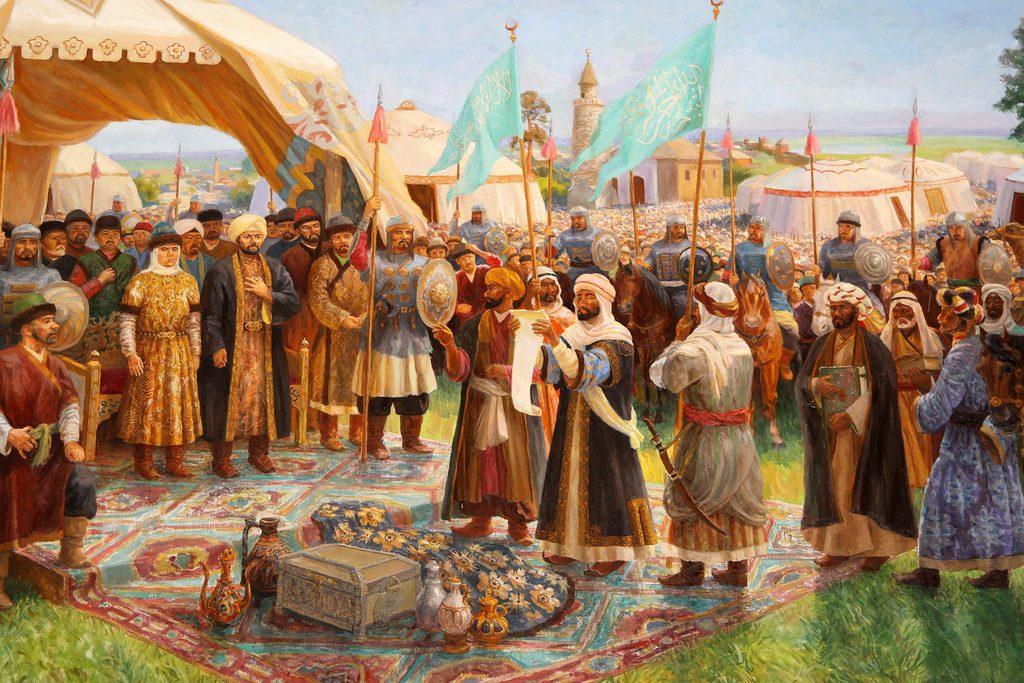 Прибытие ибн-Фадлана на реку Итиль художник Ф. Хакимов.