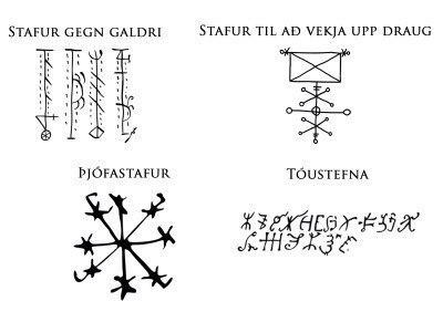 Скандинавские символы Stafur gegn galdri Toustefna