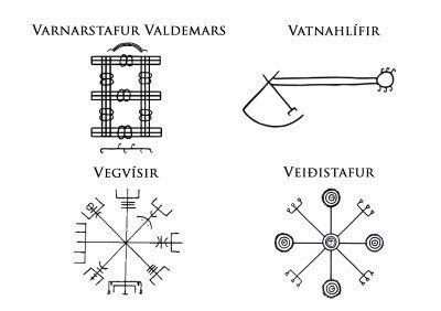 Скандинавские символы Vegvisir Veiddistafur Vatnahlifir Valdemars