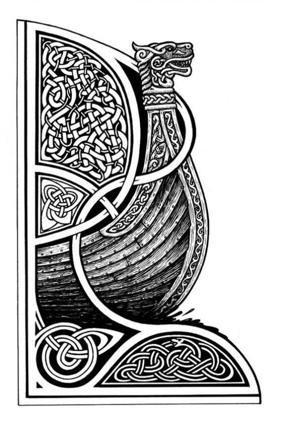 Драккар в узорах эскиз корабль викингов