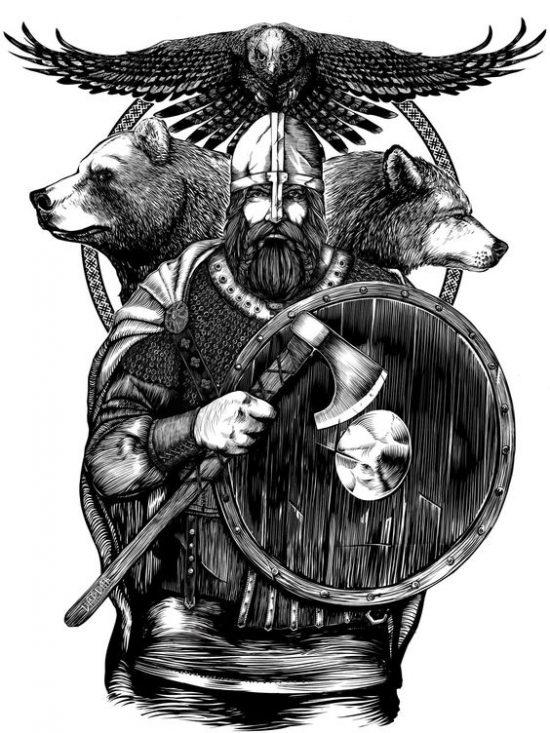 Воин викинг татуировка эскиз