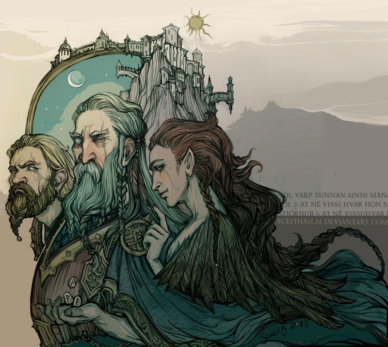 Рыжеволосый Локи на фоне Асгарда